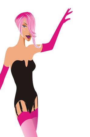 ランジェリーを着ている孤立したレトロなピンクの女の子のイラスト