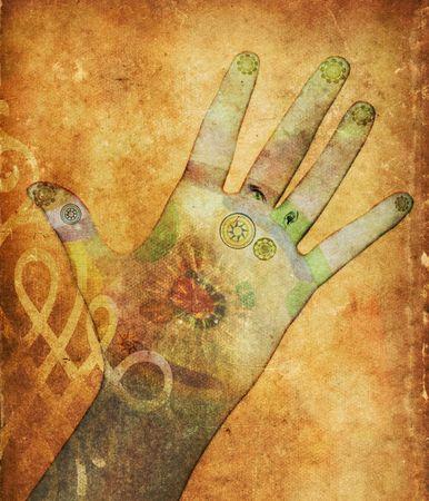 psychisch: Chakra hand - helende energie in sepia Stockfoto