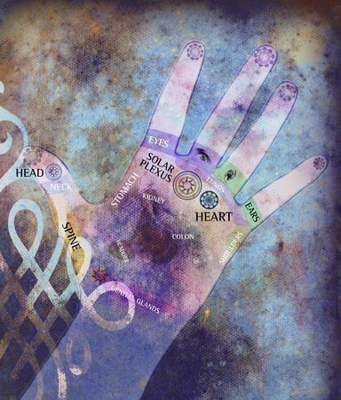 Chakra hand - healing energy in aged background