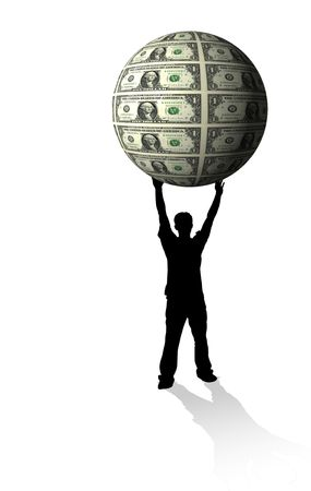 money sphere: Businessman silhouette holding money sphere - financial concept