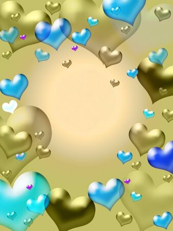 Illustration of golden hearts - valentine card background Stock Photo