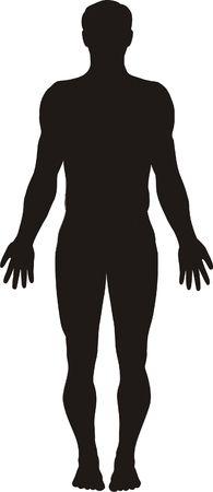 ni�o parado: Ilustraci�n vectorial de silueta cuerpo humano  Foto de archivo