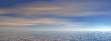 evaporating: Ocean view - 3d render illustration of ocean panorama Stock Photo