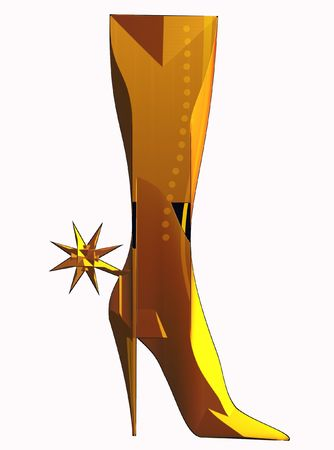 high: Vector illustration of Girl boot with spur isolated