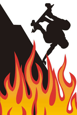 skatepark: Illustration of skater silhouette on fire flames Stock Photo