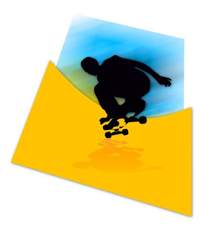 skatepark: Colorful illustration of skater silhouette - speed concept