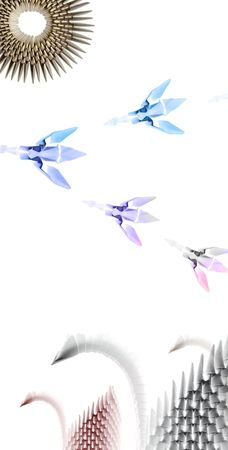 Colored origami swans on white landscape background Фото со стока