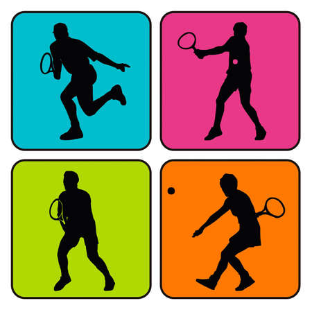 nba: Vector illustration of 4 tennis player silhouettes in colorful background Stock Photo