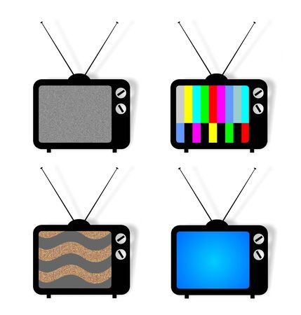 ntsc: Vector illustration of 4 isolated tv icons with screen pattern Stock Photo