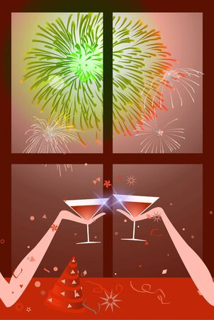 Christmas - New year party - two people having a toast with fireworks on the sky. Stock Photo