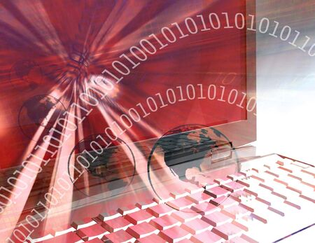 computer screen: Computer technology elements and laptop  Stock Photo