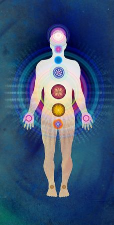 aura energy: Corpo Chakra blu - guarigione energetica Archivio Fotografico