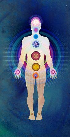 Lichaam Chakras blauw - genezende energie