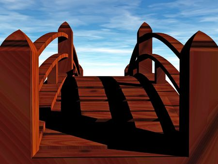 bridge over water: 3d render of wooden bridge heading to unknown