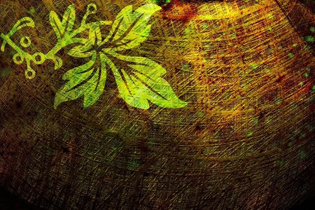 grunge background: Abstract floral grunge background with green vine and leaf