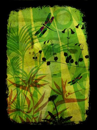 Jungle illustration in vibrant colors with vegetation and dragonfly illustration