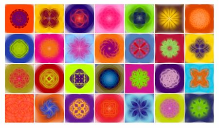 Vector illustration of 28 different colored lotus flowers illustration