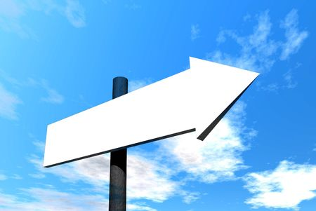 Blank arrow signpost against blue sky Stock Photo