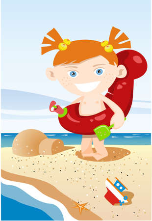 baby playing toy: Girl on the beach illustration