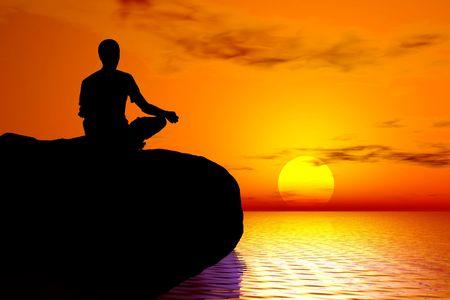 Yoga - Sunset meditation illustration Stock Photo