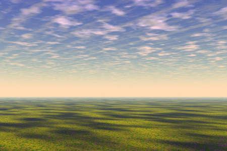 clouds scape: Prairie landscape illustration