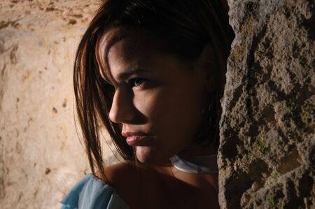 Profile portrait of beautiful hispanic woman