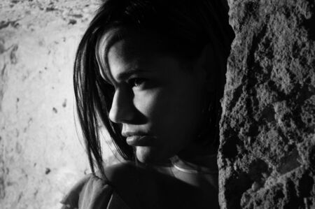 shadow: Black and white portrait of seductive woman profile