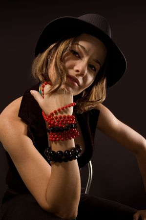 Portrait of funky girl in trendy fashion with hat and tie Stock Photo - 3172155