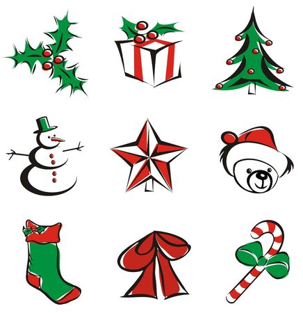 9 christmas decoration items isolated - vector illustration icons illustration