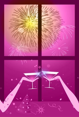 holiday celebrations: Christmas - New year party - Illustration of two people having a glass of wine with fireworks on the sky.