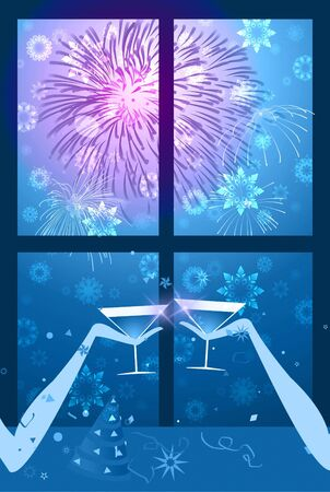Christmas - New year party - Illustration of two people having a glass of wine with fireworks on the sky and snowflake falling