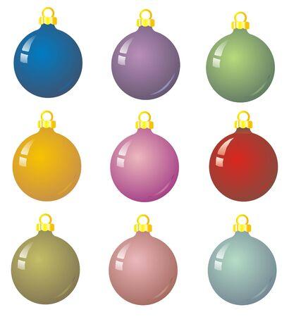 9 xmas baubles - Illustration of multicoloured christmas balls illustration