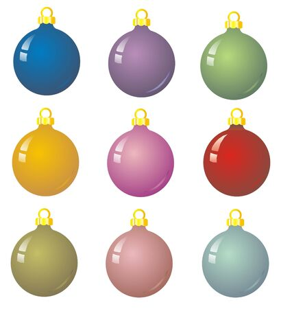 9 xmas baubles - Illustration of multicoloured christmas balls