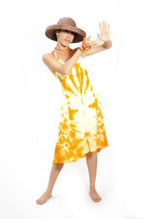 Portrait of hispanic fashion woman wearing a summer dress - isolated photo
