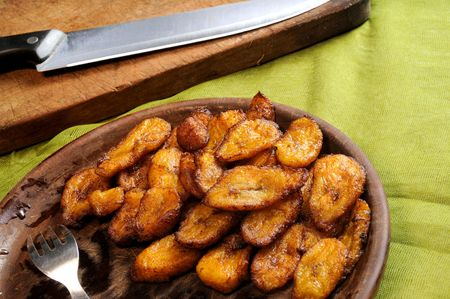 detail of typical cuban dish with fried bananas