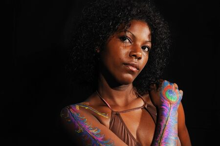 Portrait of young beautiful african female isolated photo