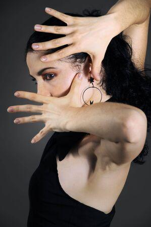 danseuse flamenco: Portrait de passionn�s hispanique femme danseuse de flamenco