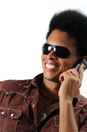 Portrait of young african male model using cell phone - isolated Stock Photo - 3469415