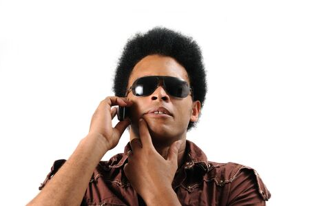 Portrait of young african male using cell phone - isolated Stock Photo - 3469324