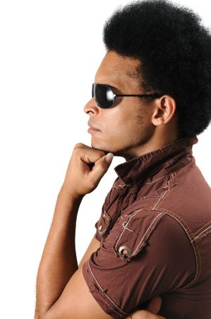 Portrait of young trendy latino man wearing sunglasses - isolated Stock Photo - 3469418