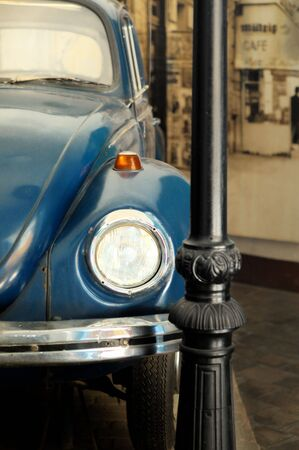 Detail of vintage car parked by a street lamp Stock Photo - 3481406