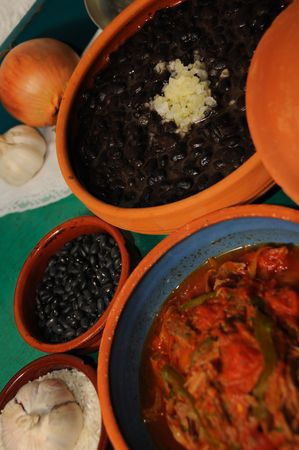 typical: Detail of typical assorted cuban dishes over green surface