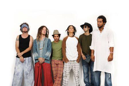 multiracial group: Multirracial grupo de machos j�venes amigos de pie juntos - aislados Foto de archivo