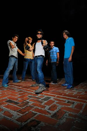 Portrait of young trendy team of male friends with attitude Stock Photo - 3872114