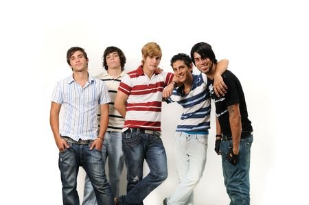 Portrait of young trendy group of male friends posing isolated Stock Photo - 3872010
