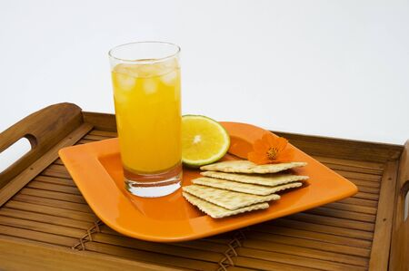snack: Healthy snack - Delicious breakfast with citrus fruit Stock Photo