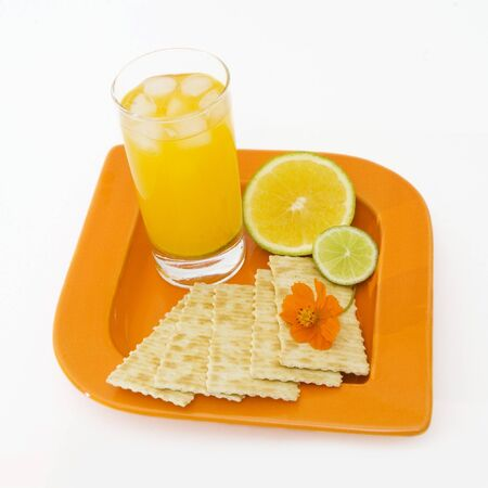snack: Healthy snack isolated - breakfast with citrus fruit
