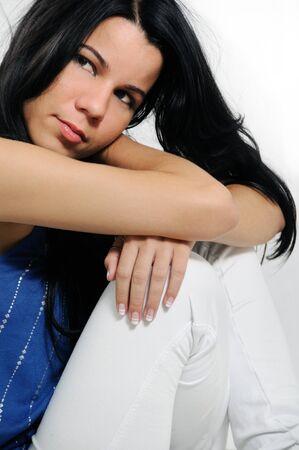 Portrait of young trendy hispanic female fashion model Stock Photo - 4011902
