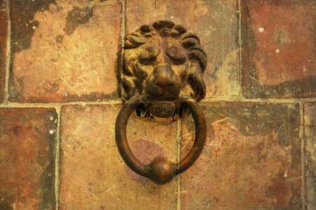 elaborate: Abstract background with rustic tiles and vintage metal lion head