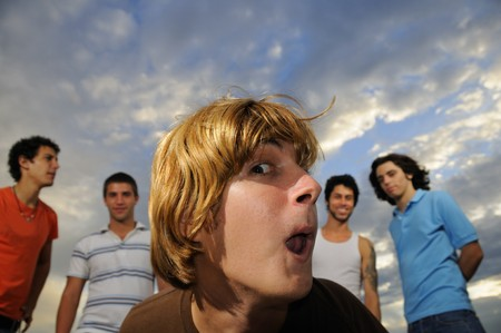 Portrait of young trendy group of friends having fun together photo
